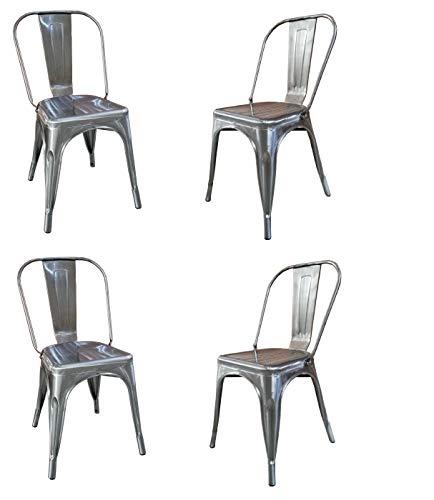 Fleda TRADING Sedia in Metallo Design Industriale - Tipo tòlix Confezione da 4 SEDIE (Grigio Alluminio)