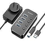 ORICO USBハブ3.0 4ポート 5Gbps高速転送 独立スイッチ付 セルフパワー/バスパワー USB3.0ハブ 12V2A電...