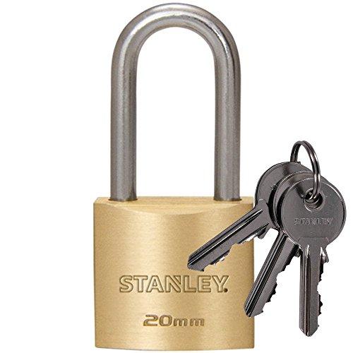 STANLEY Solid Brass Vorhangschloss 20 mm mit hohem Bügel, 3 Schlüssel, S742-040, Schloss, Bügelschloss