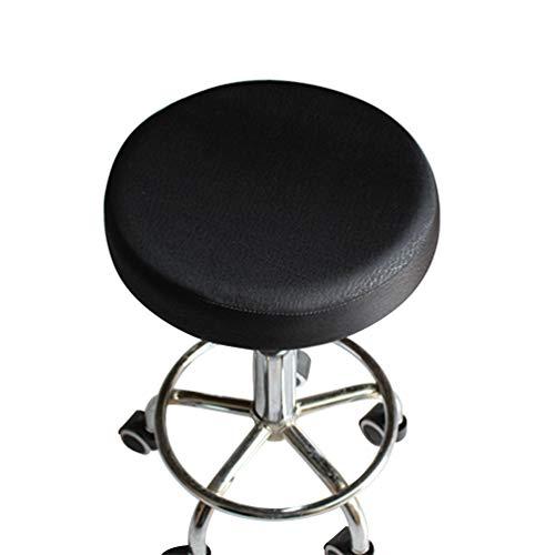 VOSAREA Stuhlbezug, elastisch, dick, Sitzkissenbezug, Baumwolle, rund, weich, 33 cm, Schwarz