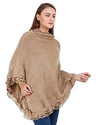 Shakti Womens Acrylic Wool Poncho (SC-01, Beige)