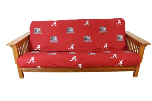 """College Covers NCAA Alabama Tide Futon Cover, Full (54"""" x 76"""" x 6"""") Size Fits 6"""" and 8"""" Mats, Crimson"""