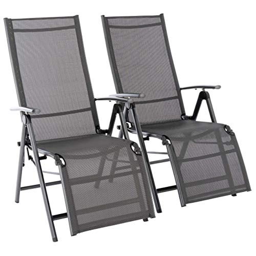 Nexos 2er Set Alu Liegestuhl mit Fußstütze Klappstuhl Garten-Liege Relaxstuhl Veranda-Stuhl Balkon-Liege- Rahmen anthrazit Textilene schwarz- stabil