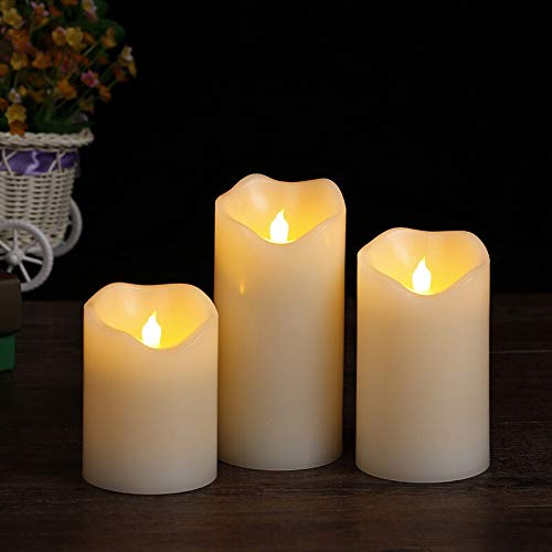 Flameless Candles, 4' 5' 6' Set of 3 Ivory Plastic Pillars, Battery Operated Flicking Include Realistic Dancing LED Flames and 10-Key Remote Control with 2/4/6/8-hours Timer Functio