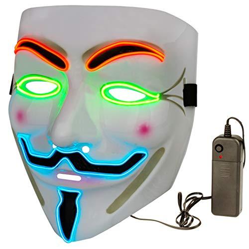 Halloween Masks LED Mask – V for Vendetta Mask Anonymous Guy Light Up Hacker Mask White