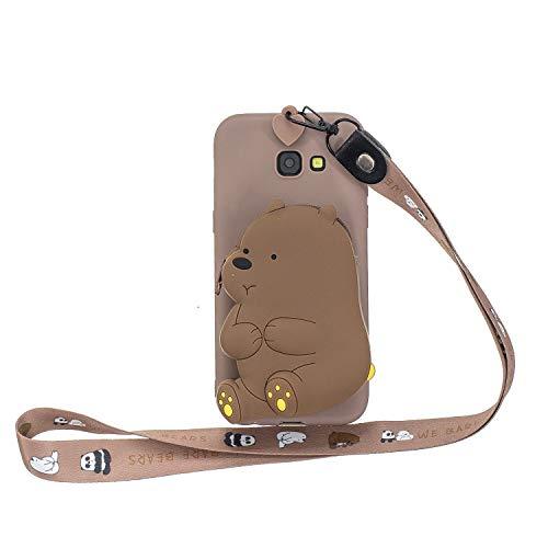 WIWJ Hülle für Samsung Galaxy A5 2017 HandyHülle Ultra Dünn Silikon Necklace Tiere Case[Wallet] mit Kordel Schutzhülle 360 Stoßfest Wasserdicht mit Band Mädchen Tasche Handykette-Brauner Bär