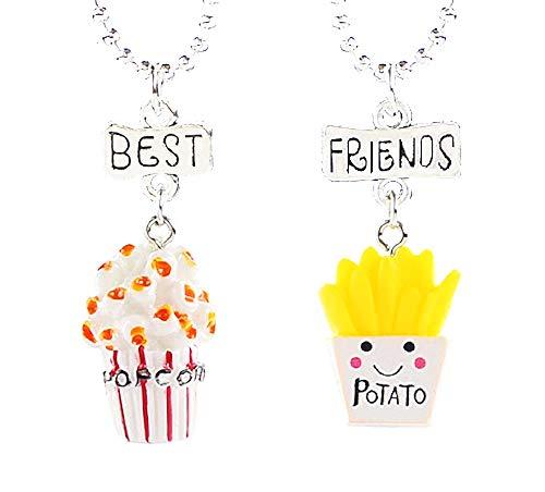 Twee meisjes kettingen - vriendschap - kawaii x 2 - beste vrienden voor 2 - bff - popcorn - chips - paar - kerstmis - eten - veelkleurig - origineel cadeau idee best friends