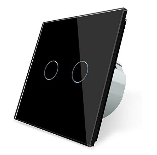 Funk Serienschalter Glas Lichtschalter Touchscreen LIVOLO weiß/schwarz/grau/gold C702R-12-A (Schwarz)
