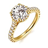 HAFEEZ CENTER 2ct Round Brilliant Cut Petite Micro Pave Floating Halo Simulated Diamond Yellow Gold Plated Sterling Silver CZ Engagement Rings for Women (6)