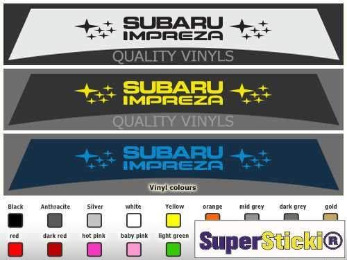 SUPERSTICKI Subaru Impreza + Blendstreifen 130 cm 3 Typen zur Auswahl Rennsport Racing Tuning Hobby Sticker Decal Deko Aufkleber Sticker Decal aus Hochleistungsfolie Aufkleber Autoaufkleber Tuni