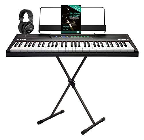 Alesis Recital 61 digitale piano set (Stage Piano met 61 aanslaggevoelige toetsen & leermodus incl. X-keyboardstandaard, hoofdtelefoon & piano school) zwart