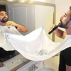 Idea Regalo - storeitaly2010 Grembiule per Barba. Grembiule con Ventose per Specchio. Cattura Barba e Capelli. Non Preoccuparti di Rimuovere peli della Barba, Capelli e Baffi nel Bagno(Bianco)