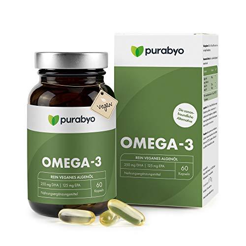 Algenöl OMEGA 3 Vegan | Nur 1 Kapsel täglich | Zwei-Monatsversorgung | Glasflasche statt Plastik | Hoher EPA Gehalt | 250 mg DHA und 125 mg EPA