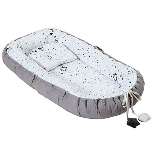 Chaise longue pour bébé 100 % coton doux et respirant pour nouveau-né, parfait pour dormir costumément, lit portable pour bébé de 0 à 2 ans