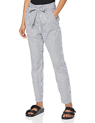 Vero Moda Vmeva HR Loose Paperbag Cot PS P Noos Ki Pantalones, Multicolor (Snow White Stripes: Navy Blazer Stripes), 36 (Talla del Fabricante: X-Small) para Mujer