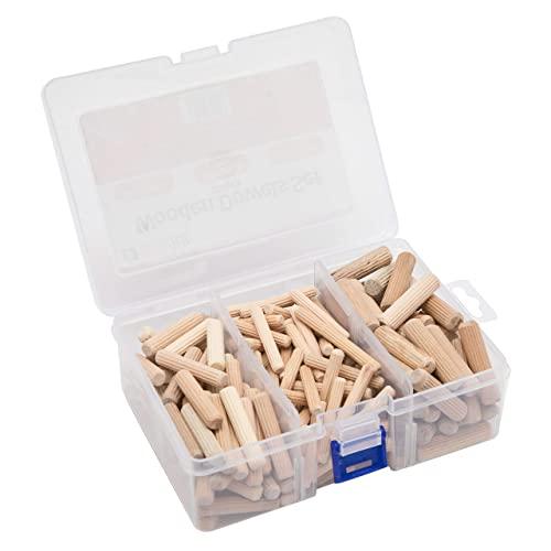 Holzdübel Set, 225 Stück, 6mm -100 St; 8mm - 75 St; 10mm - 50 St; geriffelt rund konisch, Langholzdübel, Riffelholzdübel, Durchmesser 40mm gerillt