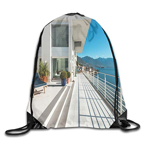 Drawstring Bag Sport Gym Sackpack-Penthouse Summer Home With Wide Patio Balcony Veranda With Calm Sea Scenery,Drawstring backpack Mouth Gym Sack Rucksack Shoulder Bags For Men & Women