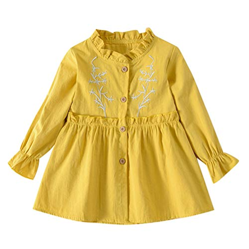 Newnew Producttoddler Baby Girls Long Sleeve Solid Ruched Floral Dressed Clothesusps Yellow 4T