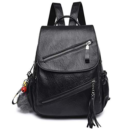 AINUOEY Damen Rucksackhandtaschen Elegant Anti Diebstahl Frau Damenhandtaschen Stadtrucksack Henkeltaschen Schwarz