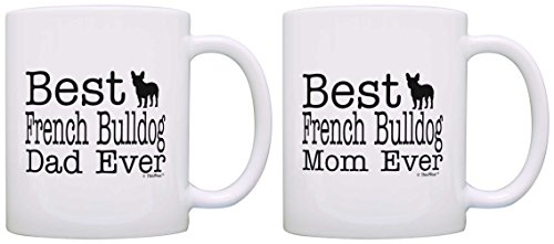 Dog Lover Gift Best French Bulldog Mom Dad Ever Puppy Bundle 2 Pack Gift Coffee Mugs Tea Cups White