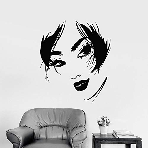 HGFDHG Girl wall decals abstract beautiful woman face beautiful lips eyes vinyl window stickers girl bedroom beauty salon interior decoration