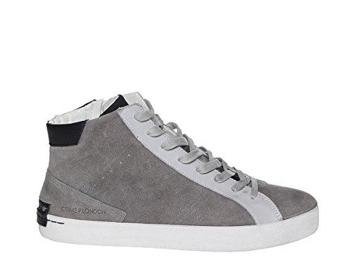 Crime Sneakers Alte London in Camoscio con Chiusura Zip Laterale e para in Gomma