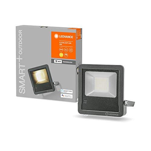 LEDVANCE Smarte LED Aussenleuchte mit WiFi Technologie, Flutstrahler für Außen, Warmweiß (3000K), Dimmbar, 50W, dunkelgraues Aluminium, Kompatibel mit Google und Alexa Voice Control, SMART+ WIFI FLOOD