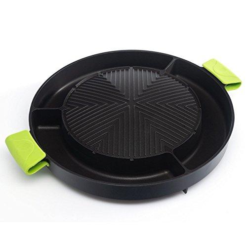 MooVita Kombi Grillplatte aus Aluminium für Holzkohlegrills & Gaskocher, Durchmesser: 35 cm - Grill-Platte, Tischgrill