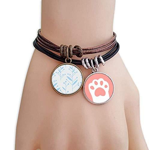 DIYthinker Womens blauwe knop bloem plant verf katten armband lederen touw polsband paar set