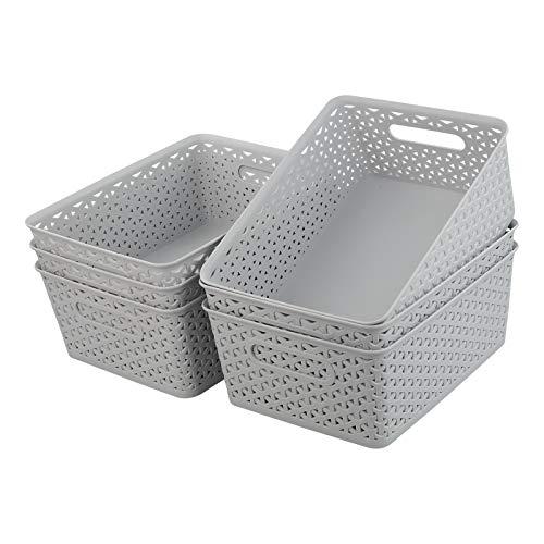 Waikhomes Juego de 6 cestas de almacenamiento para armario, cestas de organización, cestas grises