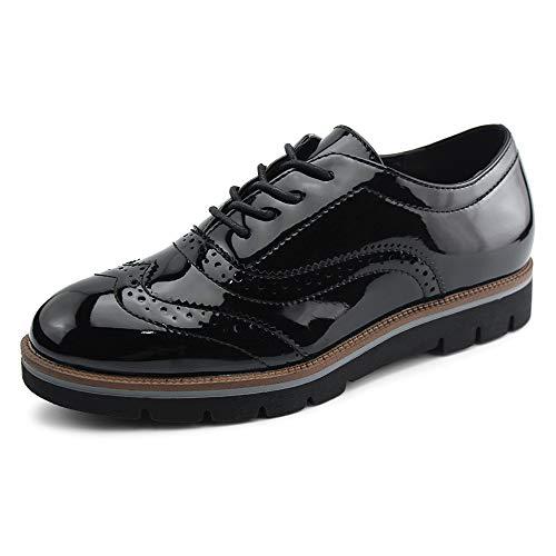 JABASIC Women Lace Up Oxford Shoes Wingtip Brogue Walking Shoes(8,Black)
