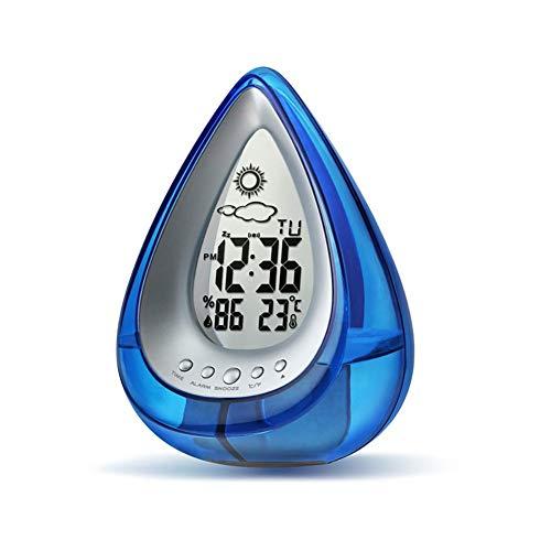 L.HPT Umweltfreundliche hydrodynamische wecker wasserkraft wetterstation h2o wasserbetriebene wecker zeitanzeige und temperaturmessung für büro Wohnzimmer Schlafzimmer (blau)