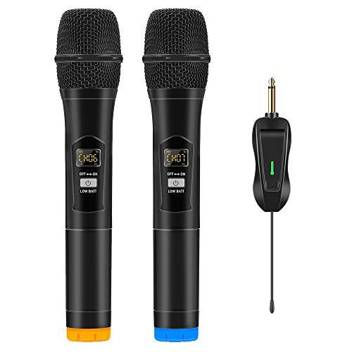 Micrófono Inalámbrico, Micrófono Karaoke Profesional UHF Sistema de Dinámico de Metal Dual con Receptor Recargable para Cantar, KTV Casero,Reunión,Boda, DJ, Discurso, Iglesia