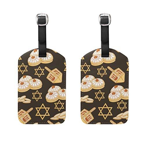 VORMOR Gepäckanhänger (Sortiert, 2 PK),Nahtloser Hintergrund-berühmter Symbol-jüdischer Feiertag, Gepäckanhänger, Kofferanhänger für Rucksäcke