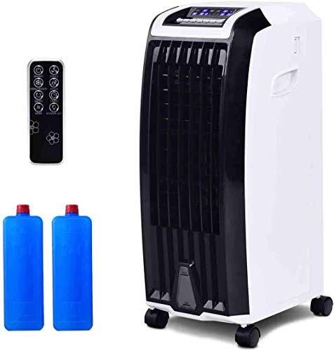 GOFLAME Evaporative Cooler, Portable 4-in-1 Air Cooler with Fan & Humidifier, Bladeless Quiet Electric Fan with Remote Control and Built-in Handle, Ideal for Home and Office