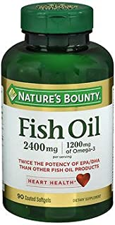 Nature's Bounty Fish Oil 2400 mg Dietary Supplement - 90 Softgels, Pack of 6