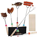 Marshmallow Roasting Sticks-Set of 6 Smores sticks & Hot Dog Forks 45 Inches Telescoping for Fire Pit Campfire with Extra 10 Bamboo Skewers BBQ Kit for Outdoor Camping