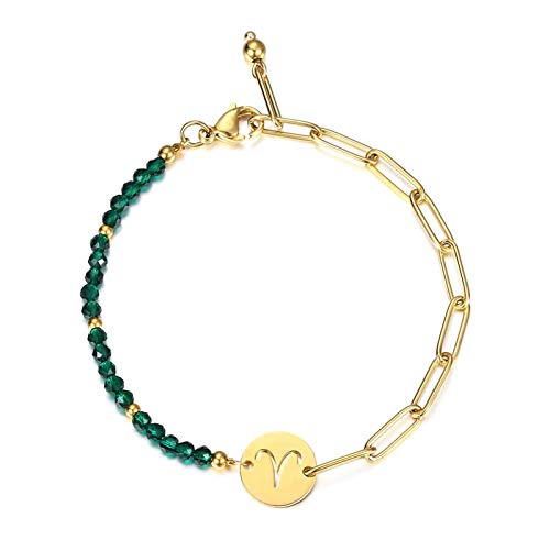 XHJLNNY XINHEJULN Women's Zodiac Horoscope Charm Bracelet Men's Gold Stainless Steel Chain Green Faceted Beads Fashionable, elegant and durable (Color : Aries)