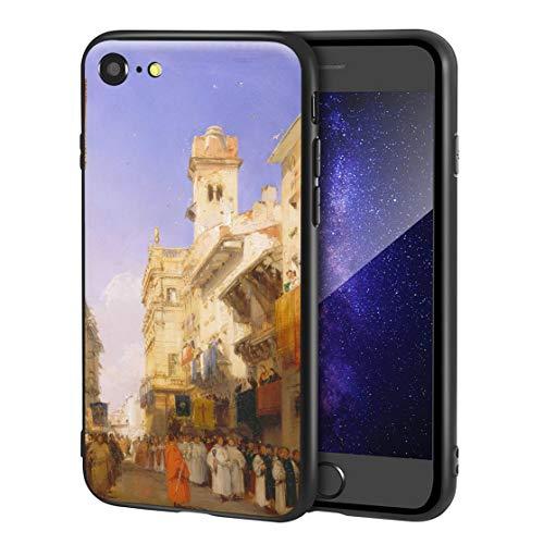 Berkin Arts Richard Parkes Bonington Custodia per iPhone SE(2020)/iPhone 7/8/per Cellulare Arti/Stampa giclée a UV sulla Cover del Telefono(Corso Sant Anastasia)