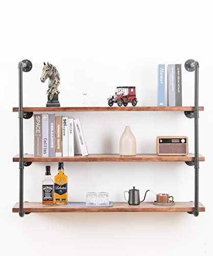 Industrial Wall Mounted Pipe Shelving,Rustic Metal Floating Shelves,Steampunk Real Wood Bookcases,DIY Bookshelf Hanging Shelves,Farmhouse Kitchen Bar Office Home Storage (4-Tier with 3 Boards,48in)