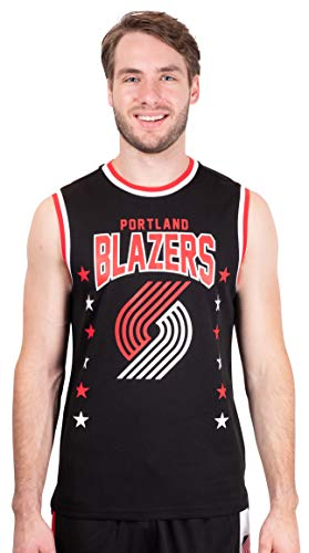 Ultra Game NBA Portland Trail Blazers Mens Jersey Sleeveless Muscle T-Shirt, Black, X-Large