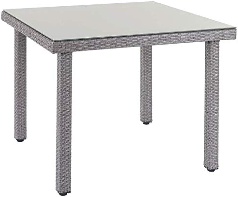 Mendler Poly-Rattan Gartentisch Cava, Esstisch Tisch mit Glasplatte, 90x90x74cm  grau