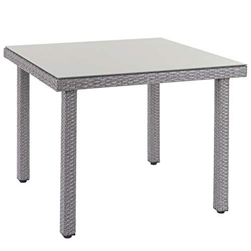 Mendler Poly-Rattan Gartentisch Cava, Esstisch Tisch mit Glasplatte, 90x90x74cm ~ grau