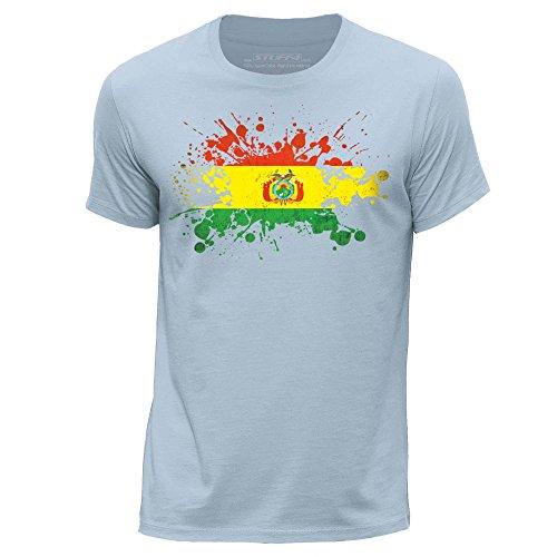 STUFF4 Uomo/Medio (M)/Cielo Blu/Girocollo T-Shirt/Bolivia Bandiera Splat