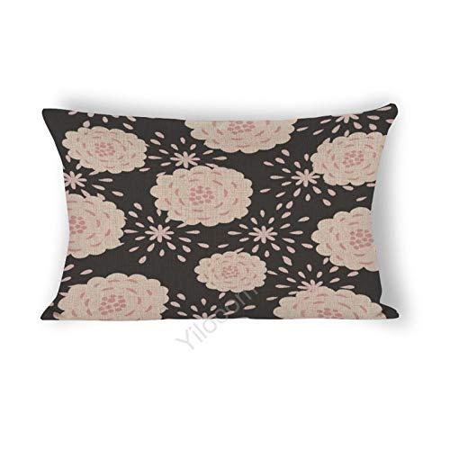 Funda de cojín rectangular de 30,5 x 45,7 cm, para cama, sofá, coche, decoración del hogar, color beige, flores silvestres