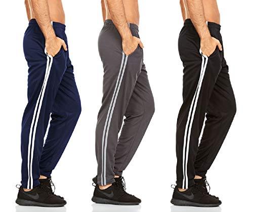 DARESAY Mens Athletic Pants with Pockets, Black Stripe/Navy Stripe/Charcoal Stripe, Large - 3-Pack