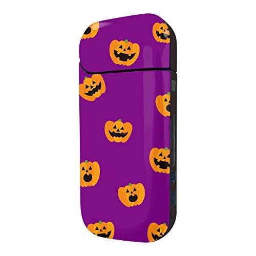 Biijo アイコス シール iQOS シール 表裏 側面 両面 全面対応 ボタンシール付き ジャック・オ・ランタン かぼちゃ (B.パープル)