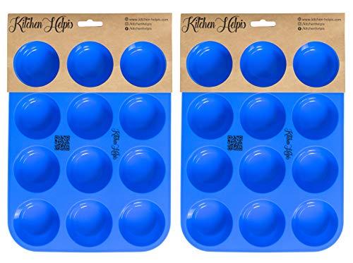 Kitchen Helpis® Molde de 12 Muffins, Bandejas para Hornear de Silicona, Magdalenas y Cupcake, Antiadherente, apto para lavavajillas, sin BPA | con el libro electrónico de recetas