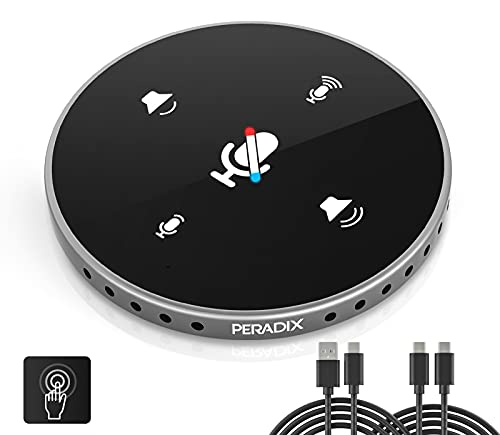 Peradix USB Conference Microphone with Speaker, Computer Speakers with microphone, Omnidirectional USB Speakerphone with Enhanced Voice Pickup, Touch-Sensor Buttons to Mute/Volume for Home Office