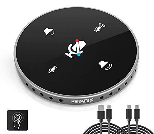 Peradix Microfono per PC da Conferenza Omnidirezionale Condensatore, Microfono vivavoce USB con Cassa Incorporato per Videoconferenza, Riunioni, Skype, Plug & Play Compatibile con Mac Windows